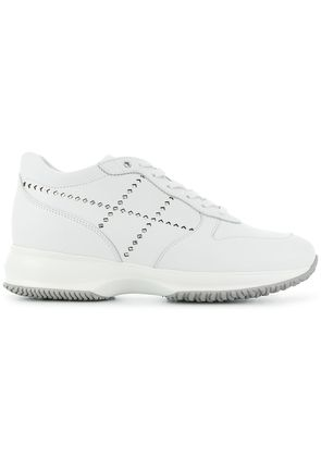 Hogan lace-up studded sneakers - White