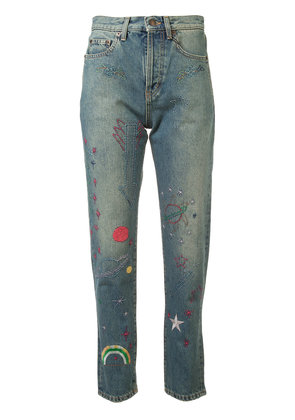 Saint Laurent embroidered high-rise jeans - Blue