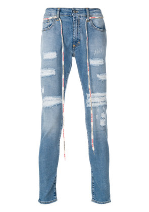 Represent distressed detail jeans - Blue