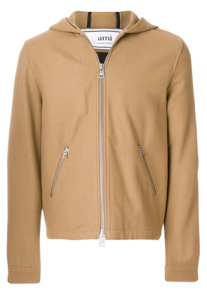 Ami Alexandre Mattiussi Zipped Hooded Jacket - Nude & Neutrals