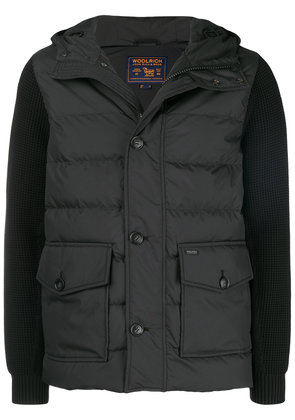 Woolrich knitted sleeve padded coat - Black
