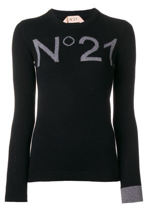 No21 logo fitted sweater - Black