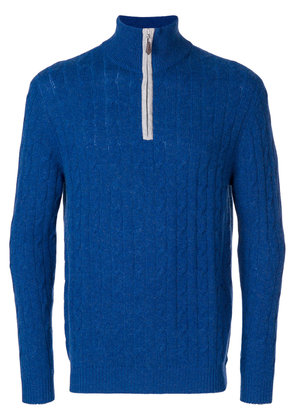 N.Peal cable knit half zip sweater - Blue