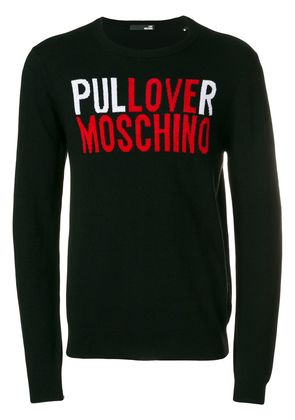 Love Moschino logo embroidered sweater - Black