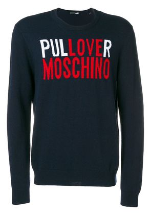 Love Moschino logo embroidered sweater - Blue