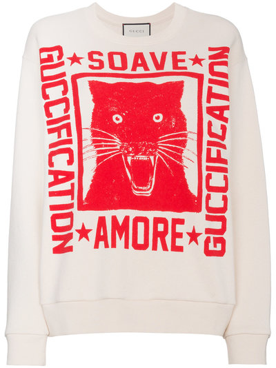 8afdf8ea Gucci Sweatshirt with Soave Amore Guccification print | Nude ...