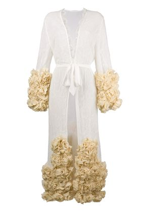 Yes Master ruffle-hem embroidered night-gown - White