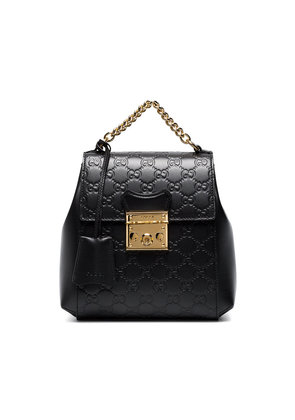 Gucci Black GG Padlock Leather Backpack