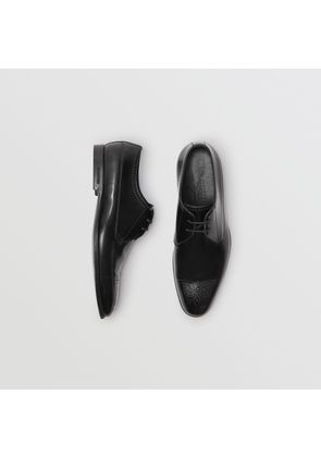 Burberry Perforated Detail Leather Derby Shoes, Size: 43, Black