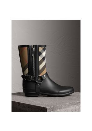 Burberry Buckle and Strap Detail Check Rain Boots, Size: 37, Black