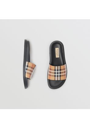 Burberry Vintage Check and Leather Slides, Size: 36.5, Yellow