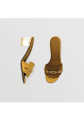 Burberry Link Detail Satin Heeled Slides, Size: 36.5, Yellow