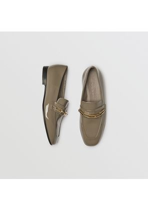 Burberry Link Detail Patent Leather Loafers, Size: 36.5, Green