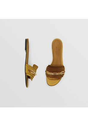 Burberry Link Detail Satin and Leather Slides, Size: 36.5, Yellow