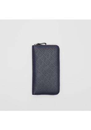 Burberry Perforated Leather Ziparound Wallet, Blue