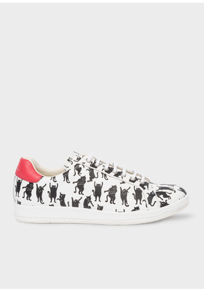 Women's White Leather 'Lapin' Trainers With 'Dancing Cats' Print