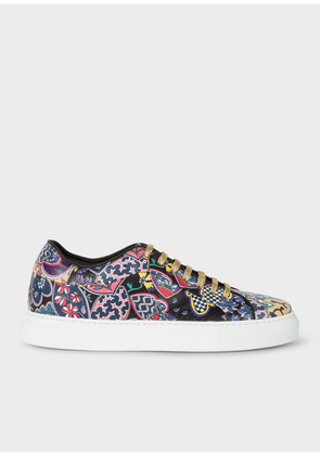 Women's Black 'Oriental Floral' Leather 'Basso' Trainers