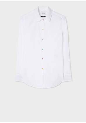 Women's Slim-Fit White Shirt With 'Daisy Polka' Buttons
