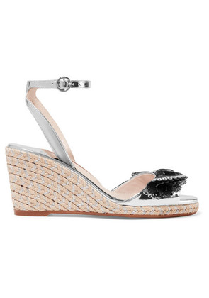 Sophia Webster - Soleil Lucita Mirrored-leather Espadrille Wedge Sandals - Silver