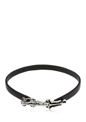 SILVER PANTHER LEATHER BRACELET
