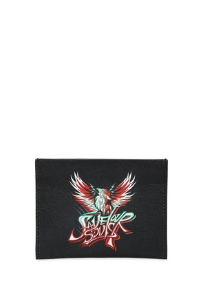 SAVE OUR SOULS PRINT LEATHER CARD HOLDER