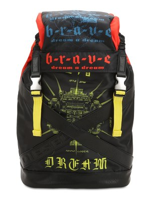 GRAFFITI PRINTED TECHNO FABRIC BACKPACK