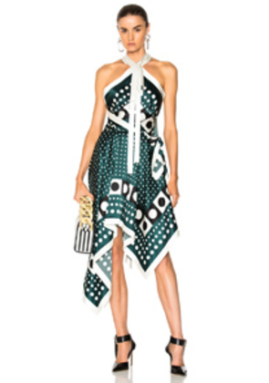 Monse Asymmetric Dress in Green,Abstract