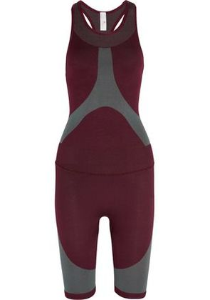 Adidas By Stella Mccartney Woman Two-tone Stretch Jumpsuit Burgundy Size XS