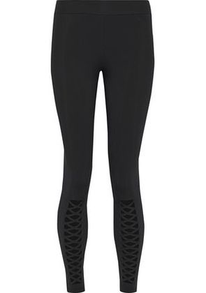 Cushnie Et Ochs Woman Lattice-trimmed Stretch Leggings Black Size XS