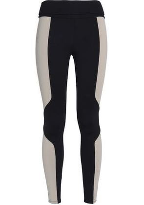 Live The Process Woman Two-tone Stretch Leggings Black Size L