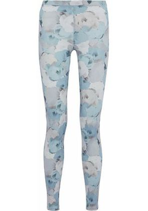 Live The Process Woman Floral-print Stretch-supplex Leggings Sky Blue Size L