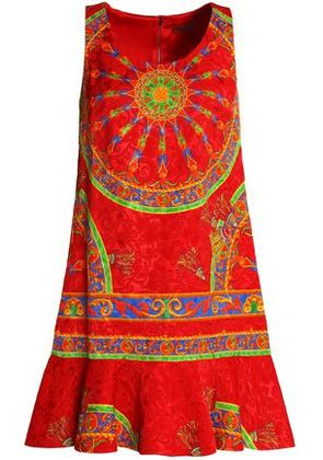 Dolce & Gabbana Woman Fluted Printed Jacquard Dress Red Size 38