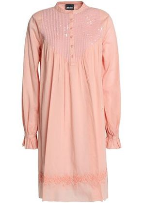 Just Cavalli Woman Embellished Embroidered Pleated Cotton Dress Blush Size 40