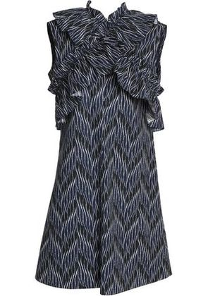 Marni Woman Crossover Ruffle-trimmed Printed Cotton-poplin Dress Navy Size 44
