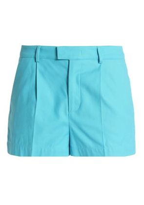 Redvalentino Woman Pleated Cotton-blend Shorts Sky Blue Size 40