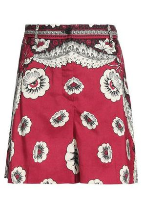 Valentino Woman Printed Silk-crepe Shorts Red Size 42