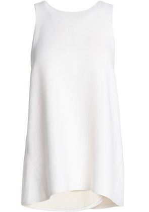 Rosetta Getty Woman Wrap-effect Wool, Cotton And Silk-blend Twill Top White Size 6