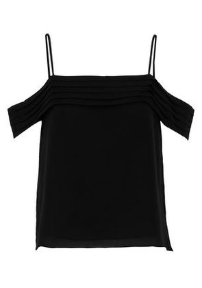 T By Alexander Wang Woman Cold-shoulder Pleated Silk Crepe De Chine Camisole Black Size 2