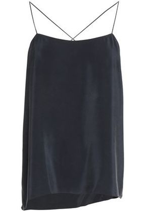 Theory Woman Asymmetric Draped Washed-silk Camisole Midnight Blue Size M
