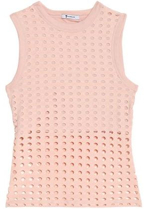 T By Alexander Wang Woman Laser-cut Stretch-jersey Top Antique Rose Size L