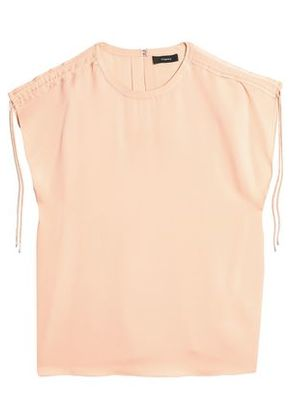 Theory Woman Ruched Silk-satin Top Peach Size S