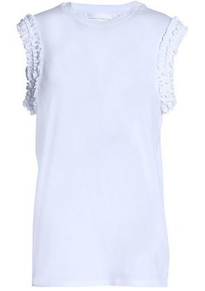 Victoria, Victoria Beckham Woman Ruffle-trimmed Cotton-jersey Top White Size S