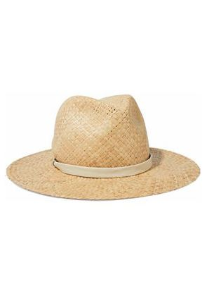 Rag & Bone Woman Leather-trimmed Straw Panama Hat Beige Size M