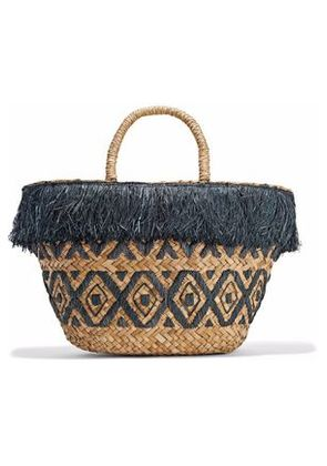 Kayu Woman Lillian Fringed Embroidered Woven Straw Tote Charcoal Size -