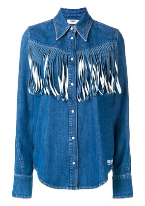 MSGM denim fringed shirt - Blue