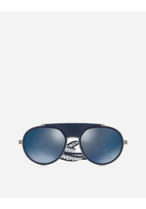 Dolce & Gabbana Sunglasses - ROUND METAL SUNGLASSES WITH FABRIC STRAP BLUE