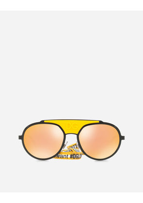 Dolce & Gabbana Sunglasses - ROUND METAL SUNGLASSES WITH FABRIC STRAP YELLOW