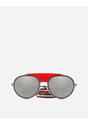 Dolce & Gabbana Sunglasses - ROUND METAL SUNGLASSES WITH FABRIC STRAP RED