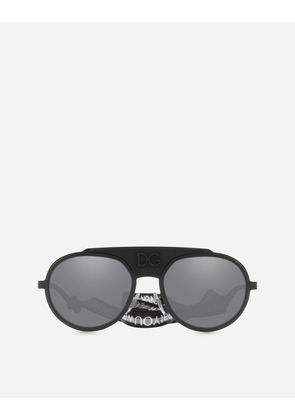 Dolce & Gabbana Sunglasses - ROUND METAL SUNGLASSES WITH FABRIC STRAP BLACK