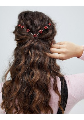 ASOS DESIGN back headband with rose detail in gold - Gold